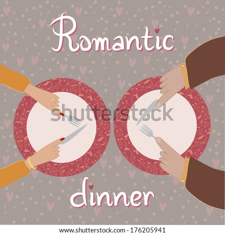 Two pairs of hands near the plates - stock vector