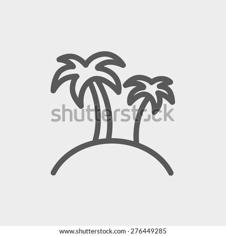 Two palm trees icon thin line for web and mobile, modern minimalistic flat design. Vector dark grey icon on light grey background. - stock vector