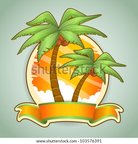 Two palm trees. Vector illustration - stock vector