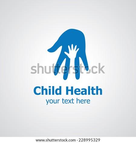 Two palms vector logo design, icon idea for child clinic brand - stock vector