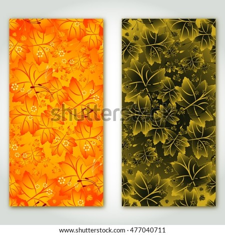 Two panels with autumn pattern from maple leaves in orange and golden colors. Vector illustration
