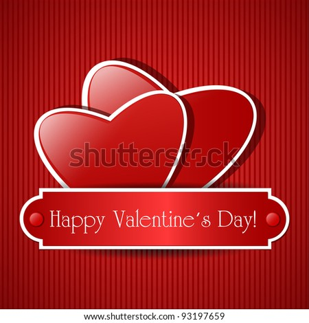 Two paper red hearts. Vector card with place for text.
