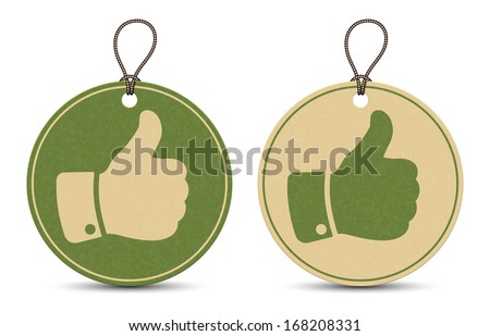 Two paper thumb up tags isolated on white background - stock vector