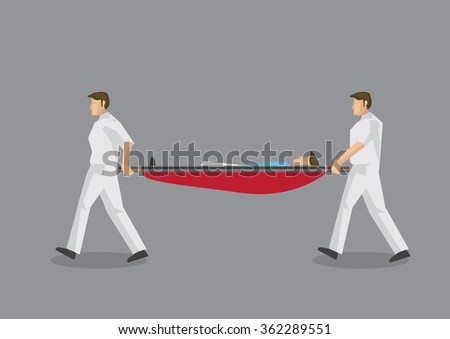 Two paramedic personnel carrying a stretcher with a man lying in it. Vector illustration on emergency medical services concept isolated on grey background. - stock vector