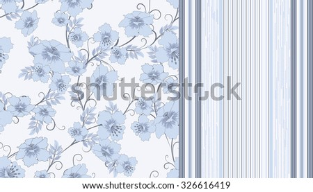 two pattern with flowers and strips in pastel shades of  blue, vector illustration - stock vector