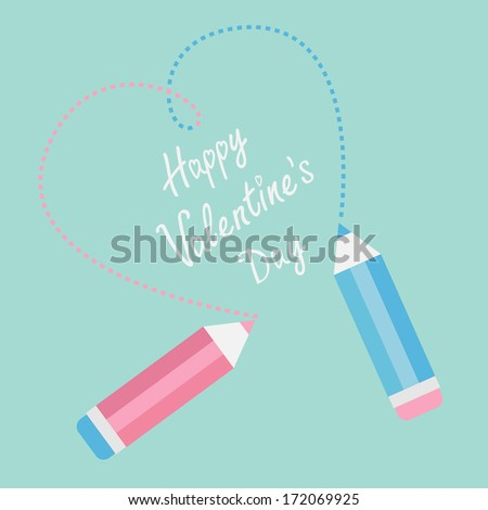 Two pencils drawing dash heart. Happy Valentines Day card. Vector illustration. - stock vector
