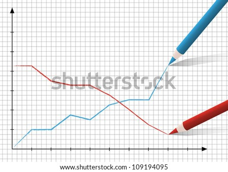 Two pencils drawing graphics - stock vector