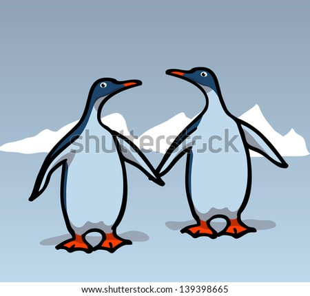 Two penguins. EPS 10 vector, transparencies used - stock vector