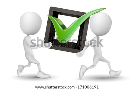 two people carried a check mark - stock vector