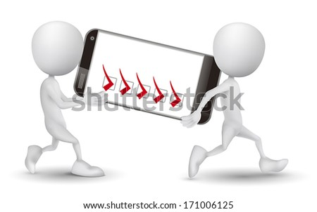 two people carried a mobile phone and check list - stock vector
