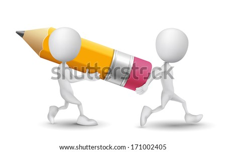 two people carried a pencil - stock vector