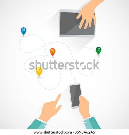 Two people communicate on the desk. Telephone, cellphone, tablet. Few steps icons. Vector illustration. Isolated objects. - stock vector