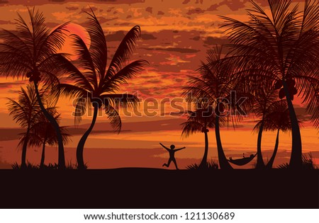 two people enjoying the evening sunset and relaxing - stock vector