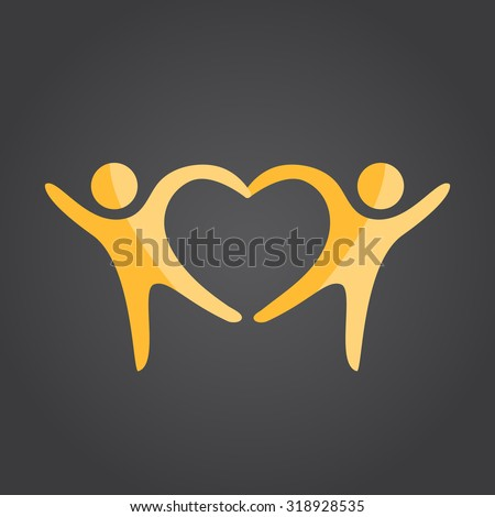 Two people form heart shape holding hands, 2d vector on dark background, eps 10 - stock vector