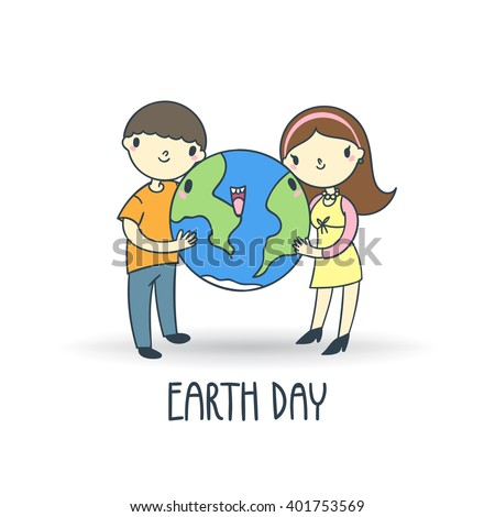 Two people, man and woman, hagging earth vector illustration. April 22 earth day poster.  - stock vector