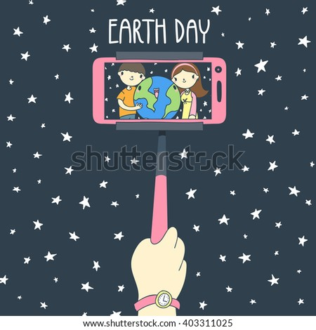 Two people, man and woman, hagging earth while taking selfie vector illustration. April 22 earth day poster.  - stock vector