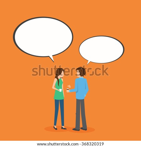 two people meeting talking on the table with speech bubble,flat style vector illustration