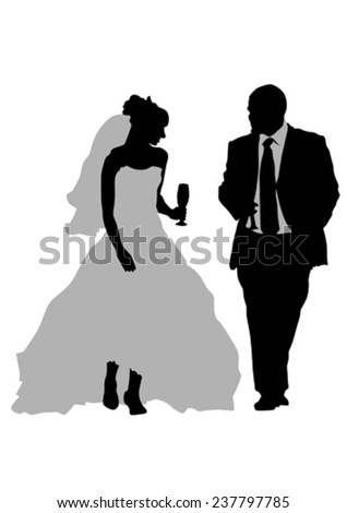 Two people of wedding on white background - stock vector