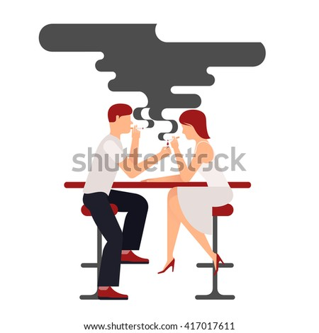 Two people smoking, vector illustration plane isolate on white background smokers man and woman sitting at the table, a lot of black smoke over the pair, a date in a bar in the smoking compartment