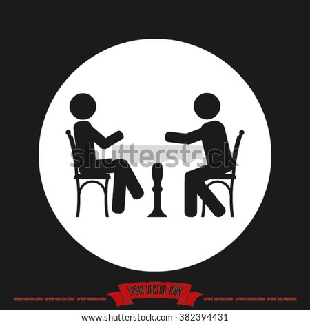 two people table chair vector illustration