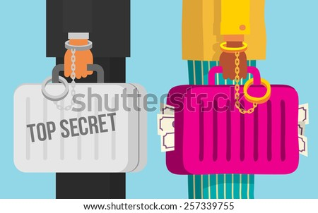 Two people talking about a good deal, top secret deal, cartoon flat style vector illustration. - stock vector