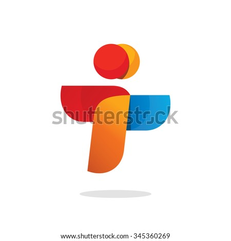 Two people vector logo template design, abstract flying birds symbol, letter i logo concept, wings social payment icon concept, friends logotype silhouette, teamwork idea symbol, airlines success sign - stock vector
