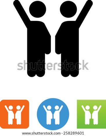 Two people waving. Vector icons for video, mobile apps, Web sites and print projects.  - stock vector