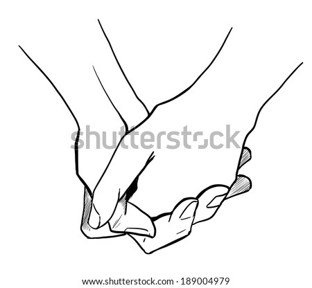 Hands Clasped Together Drawing Two Persons Are Holding Hands