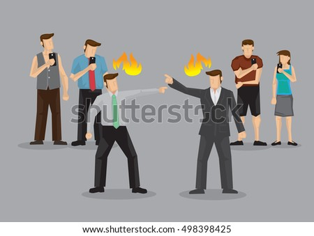 Two persons in heated argument in public and curious bystanders use handphone to take photo instead of helping. Cartoon vector illustration of apathy and bystander effect concept.
