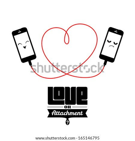 Two phones attached with cord forming heart shape - stock vector