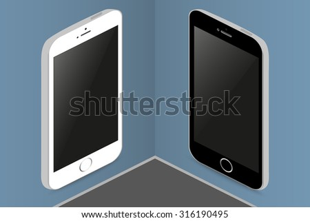 Two phones in different colors on the wall  hanging billboards