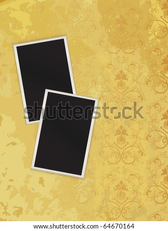 Two photos lying on grunge to a structure. Vector - stock vector