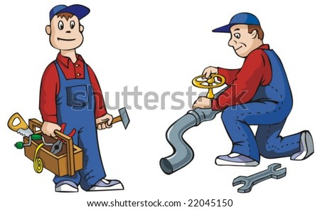 Two pictures of plumber with tools, working, vector illustration