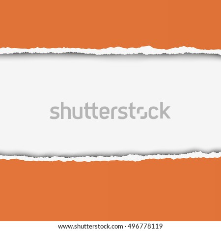 Two pieces of torn orange color paper with ripped edges and white hole between them