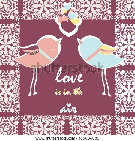 Two pigeons card with love hearts and lace frame. Vector  - stock vector