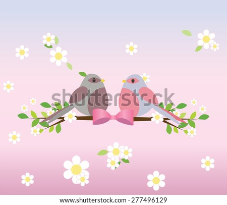 Two pigeons on a tree branch. Spring background with flowers. Vector - stock vector