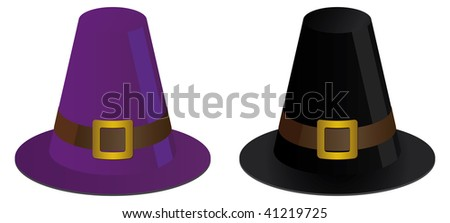 two pilgrims hats for thanksgiving - stock vector