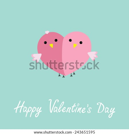 Two pink birds in shape of half heart Love cart Flat design style Happy Valentines day card. Vector illustration - stock vector
