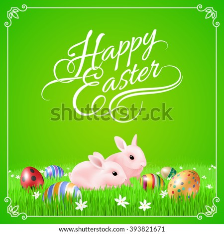 Two Pink Easter Bunny and Easter Eggs in Green Grass - stock vector