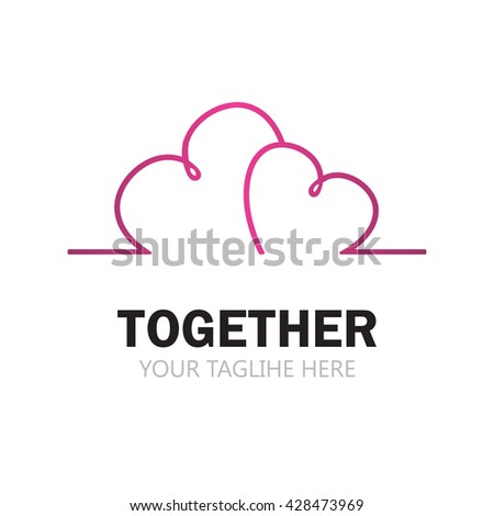 Two pink heart on white background. Hearts line art logo vector illustration. Heart logotype