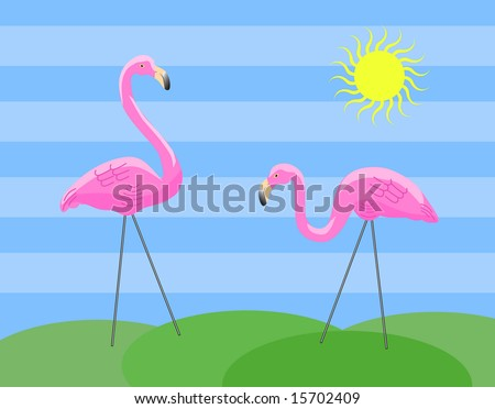 Two pink plastic lawn flamingos on wire legs stand on small green hills.