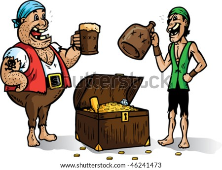 Two pirates cheering for their booty. Part of a series - stock vector