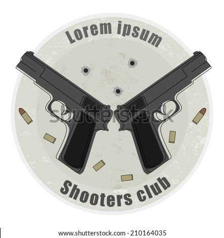 Two pistols and bullets emblem on stone background with bullet holes - stock vector