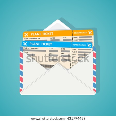 Two plane tickets in corporate envelop on blue background.