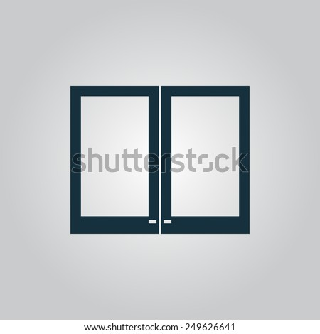 Two plastic Window. Flat web icon, sign or button isolated on grey background. Collection modern trend concept design style vector illustration symbol - stock vector