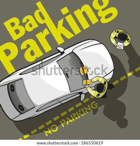 Two police officers discharged a parking fine to the owner of the car and stick a ticket on the windshield. - stock vector