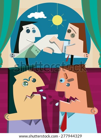 Two politicians argue. They hold sticks with puppets with smile on their faces shaking their hands. - stock vector
