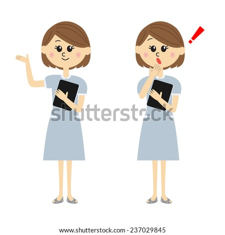 Two pose variations of young woman in a blue nurse outfit, vector illustration  - stock vector