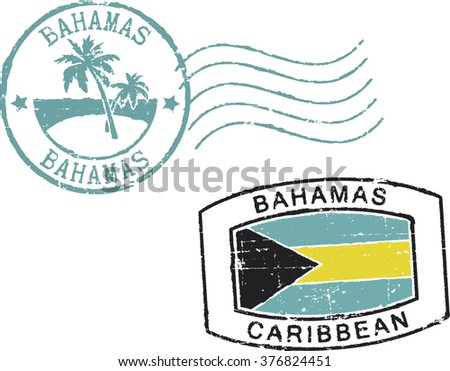 Two postal grunge stamps ''Bahamas-Caribbean'. White background. - stock vector