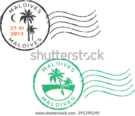 Two postal grunge stamps ''Maldives''. White background. - stock vector